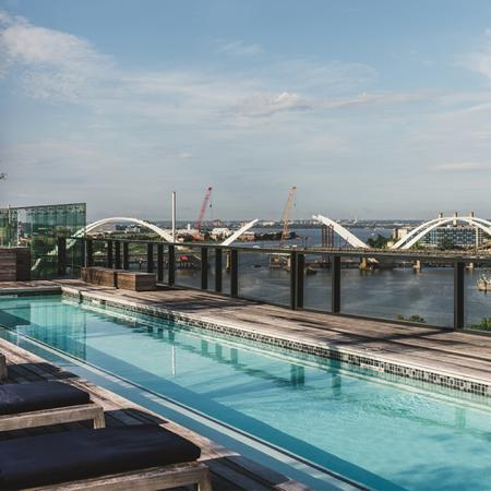 Rooftop lap pool overlooking Anacostia River in DC