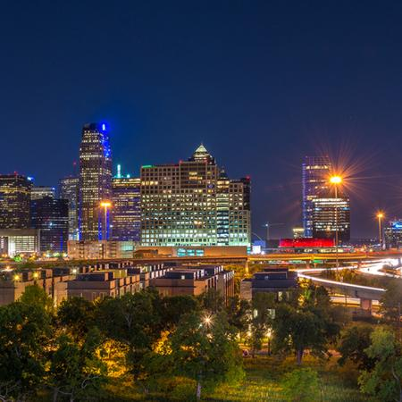 City of Dallas Lit Up at Night