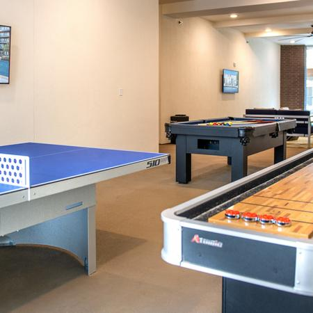 "Gaming ""Cave"" with Shuffleboard, Ping Pong, Pool, and Social Seating"