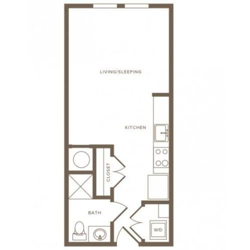 438 square foot studio one bath floor plan image