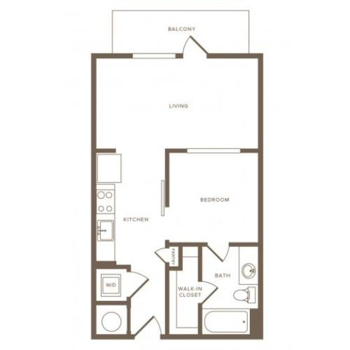 583 square foot one bedroom one bath apartment floorplan image