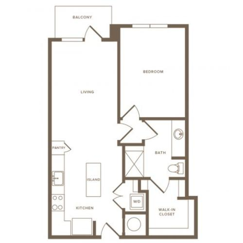 695 to 711 square foot one bedroom one bath apartment floorplan image