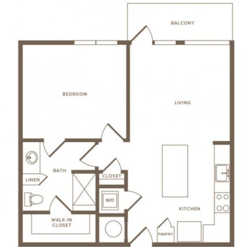 744 to 931 square foot one bedroom one bath apartment floorplan image