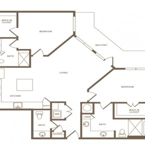 1315 square foot two bedroom two and a half bath apartment floorplan image