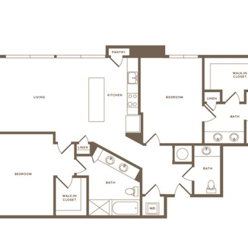 1456 square foot two bedroom two and a half bath apartment floorplan image