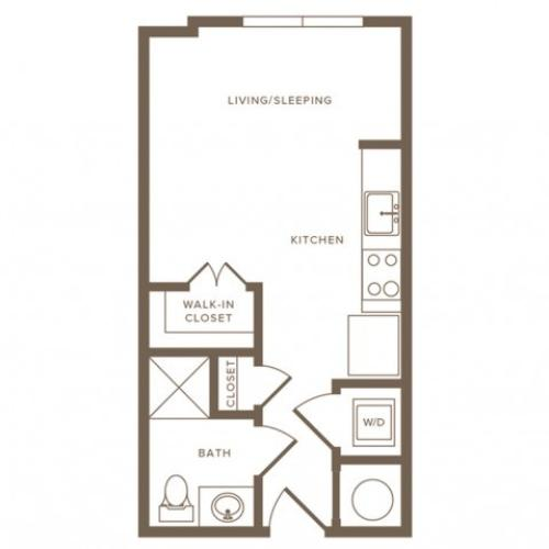 373 square foot studio one bath floor plan image