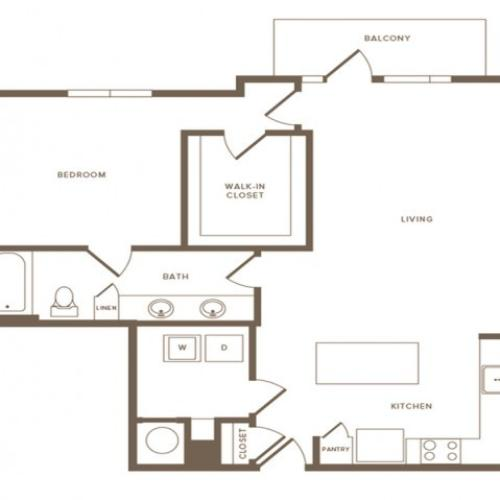 1002 square foot one bedroom one bath apartment floorplan image