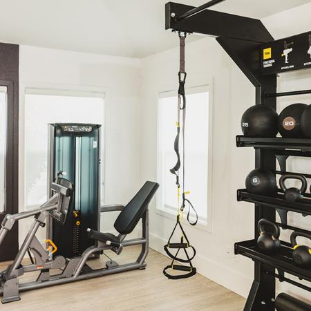 Fitness center with medicine balls and resistance bands