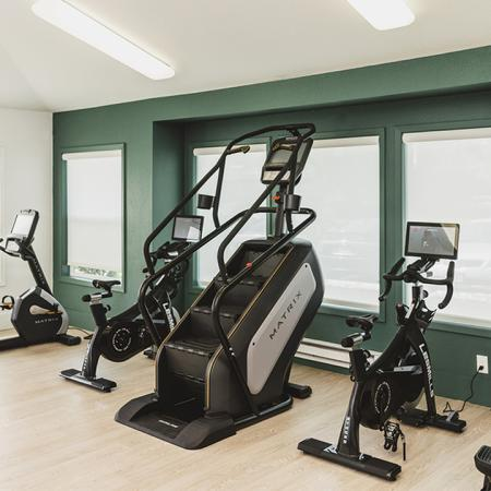 Stationary bikes and stair climber in the fitness center
