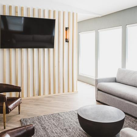Newly reimagined clubroom with seating and TV