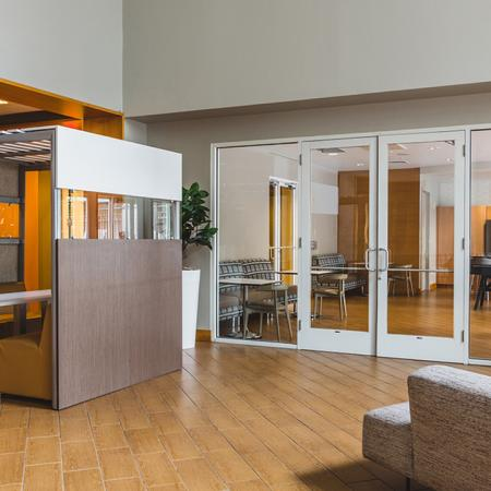 Semi-private cubicle in resident lounge