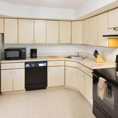L-shaped kitchen in NW tower home