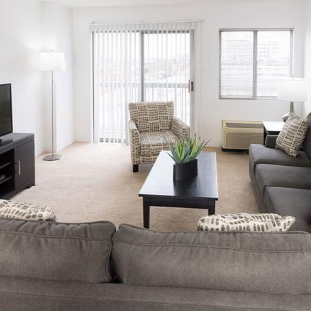 Spacious living room with two sofas, chair, coffee table and media stand with TV