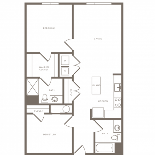 1054 square foot one bedroom one bath with den apartment floorplan image