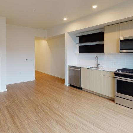Studio apartments with HVAC, built in shelving and sliding closets