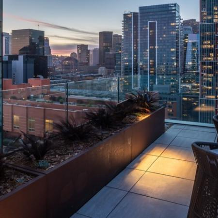 Downtown views at twilight from Modera Rincon Hill roof deck and lounge