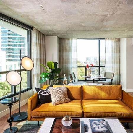 Stunning apartment homes at Modera Rincon hill featuring gorgeous downtown views from your comfortable living room