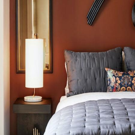 Large bedroom with gorgeous view at Modera Rincon Hill apartments.