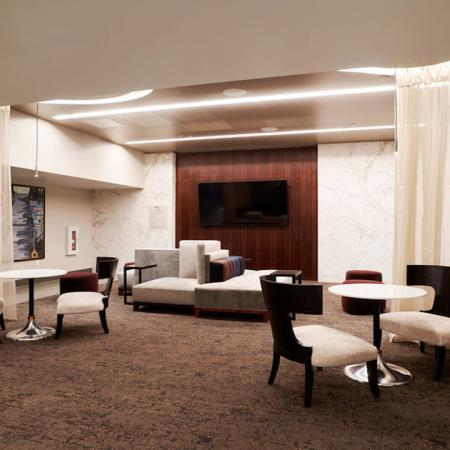 Private lounge and meeting spaces at Modera Rincon Hill apartments.