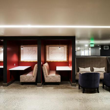 Work from home booths and meeting areas at Modera Rincon Hill apartments.