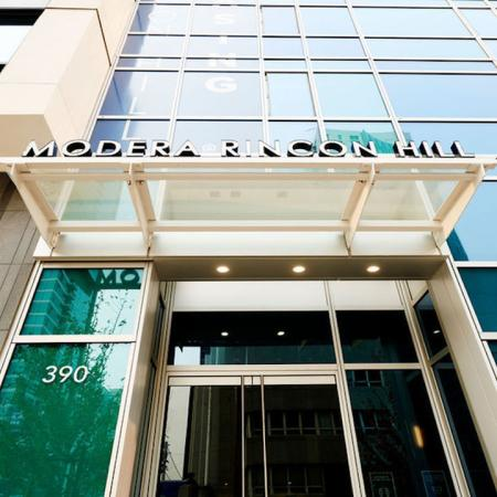 Are you ready to live the Modera life? Entrance at Modera Rincon Hill apartments.