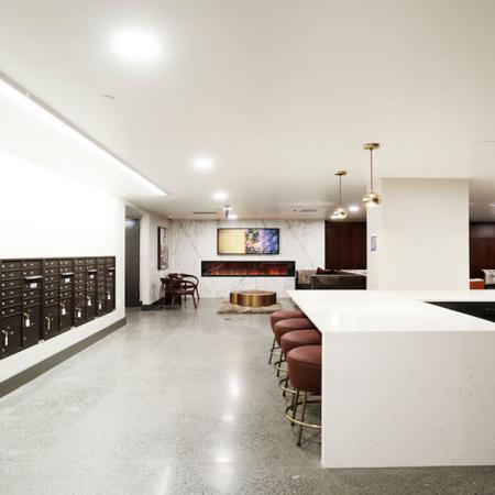 Mailroom with package lockers at Modera Rincon Hill apartments.