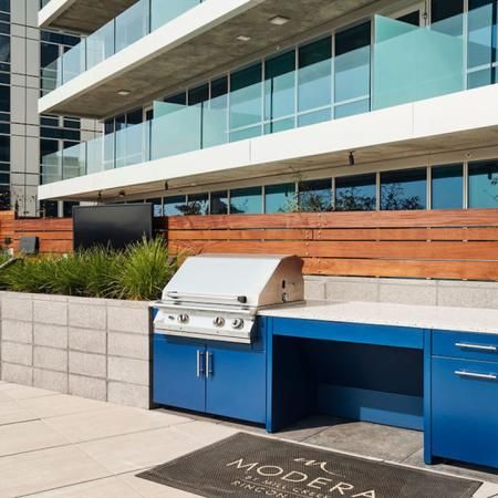 Enjoy grilling stations alfresco dining and more at Modera Rincon Hill apartments.