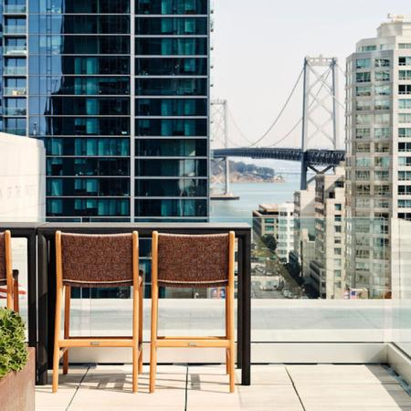 Stunning view of bay bridge from rooftop terrace at Modera Rincon Hill apartments.