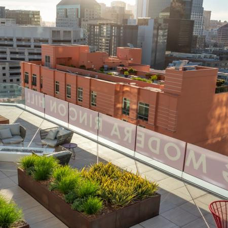 Gorgeous green outdoor spaces with city views at Modera Rincon Hill apartments.