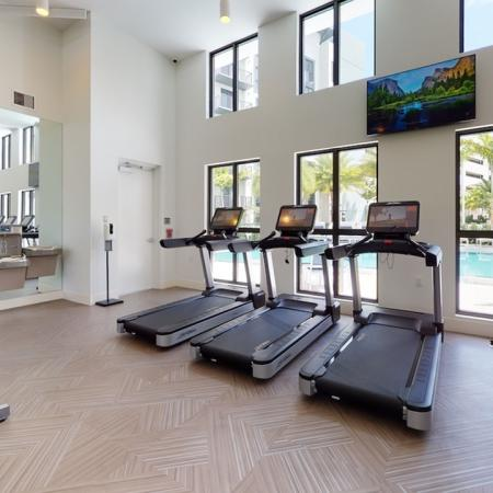 HIIT inspired fitness center with cardio and bike stations
