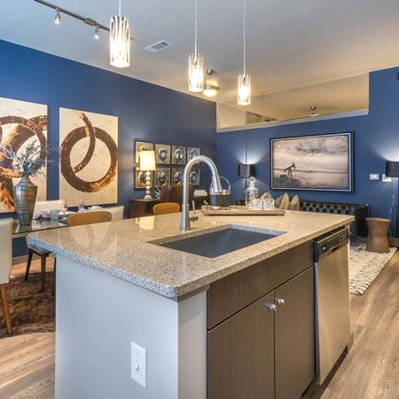 Open concept kitchen with chef's island