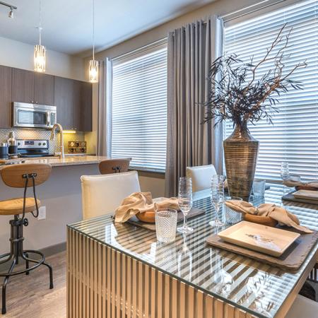Dining and kitchen in Modera Flats Apartment