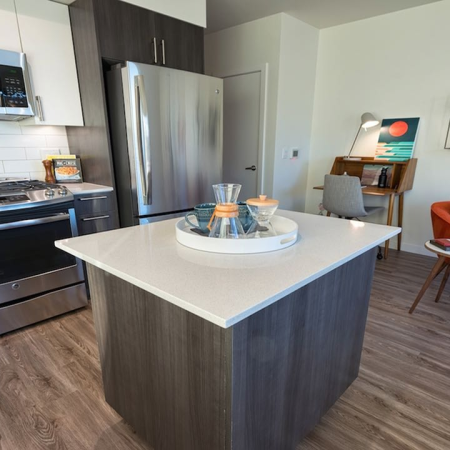 Kitchen island with quartz counters and hardwood floors in kitchen