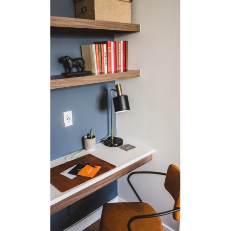 Built-in work from home spaces and bookshelves