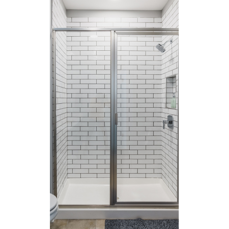 Walk in showers with glass surrounds and rain shower heads