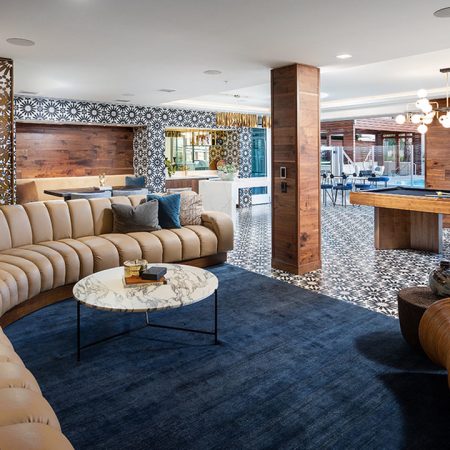 Clubroom with gaming area including billiards and expansive gathering areas