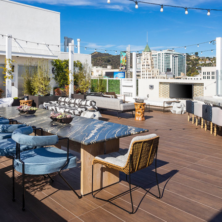Alfresco dining and gathering areas with scenic views