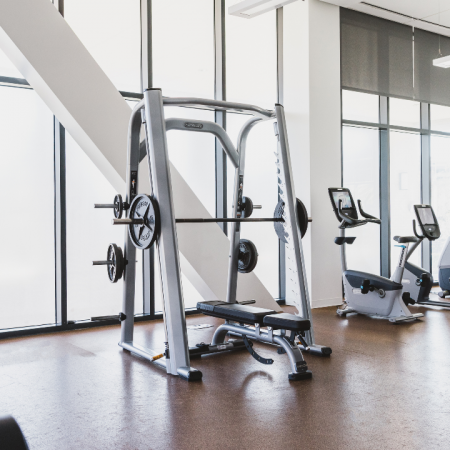 Cardio machines and weight machines in fitness center