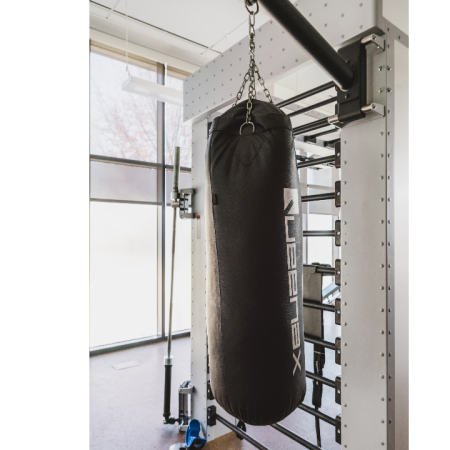 Club-quality punching bag in fitness center
