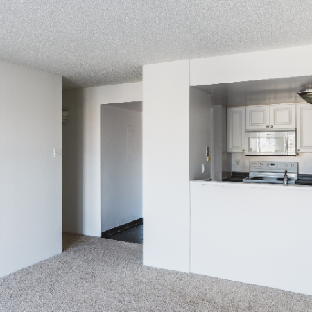 NW tower home with passthrough kitchen window and carpet in living area