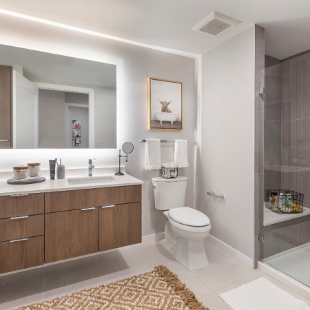 Ultra Modern Bathroom with Tile bathroom floors with floor-to-ceiling tile shower and tub surrounds