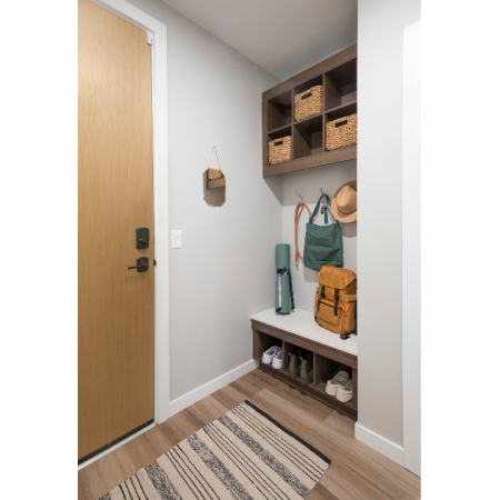 Built-in mudrooms with cubbies, and key drop