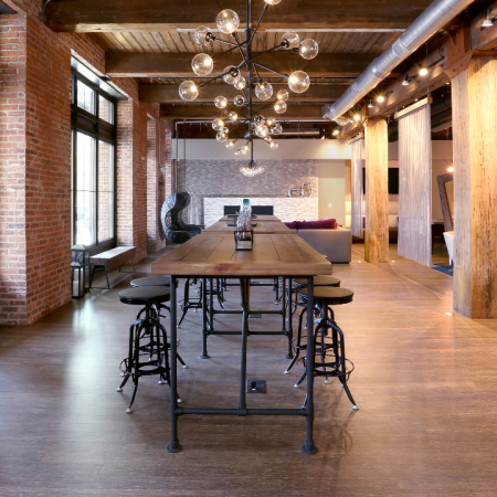 Long table in clubroom with seating