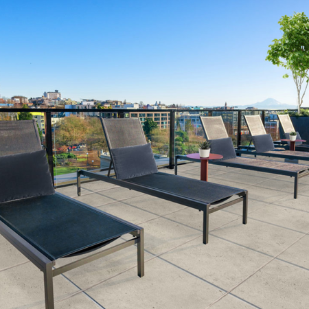 Lounge seating on the rooftop