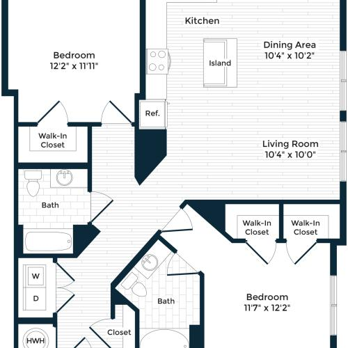 1236 square foot two bedroom two bath apartment floorplan image