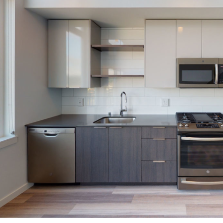 Modern kitchen cabinetry with stainless steel appliances and natural lighting