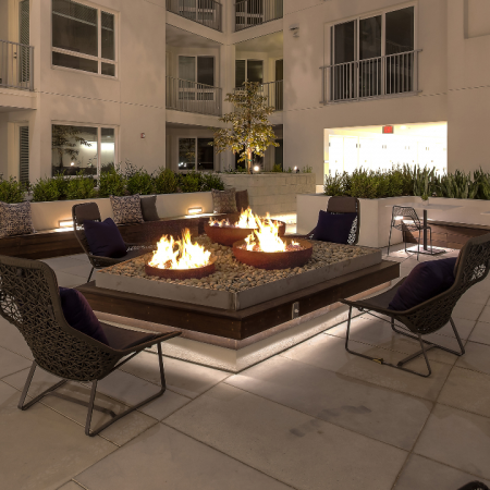 Cozy outdoor seating near fire pit