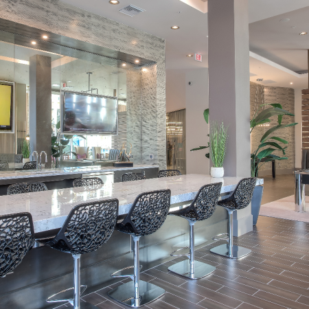 Resdient lounge with bar top seating