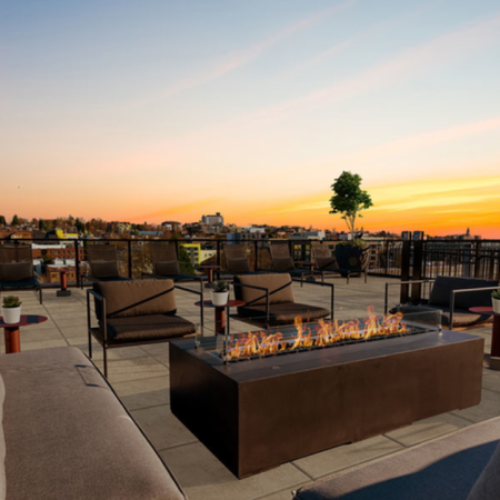 Lounge seating around a firepit with a sunset in the background