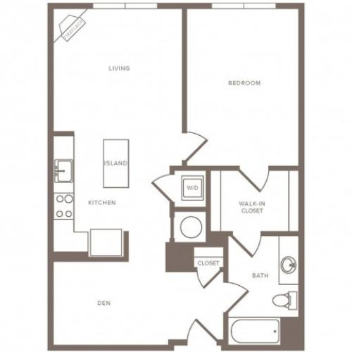 848 square foot one bedroom one bath apartment floorplan image